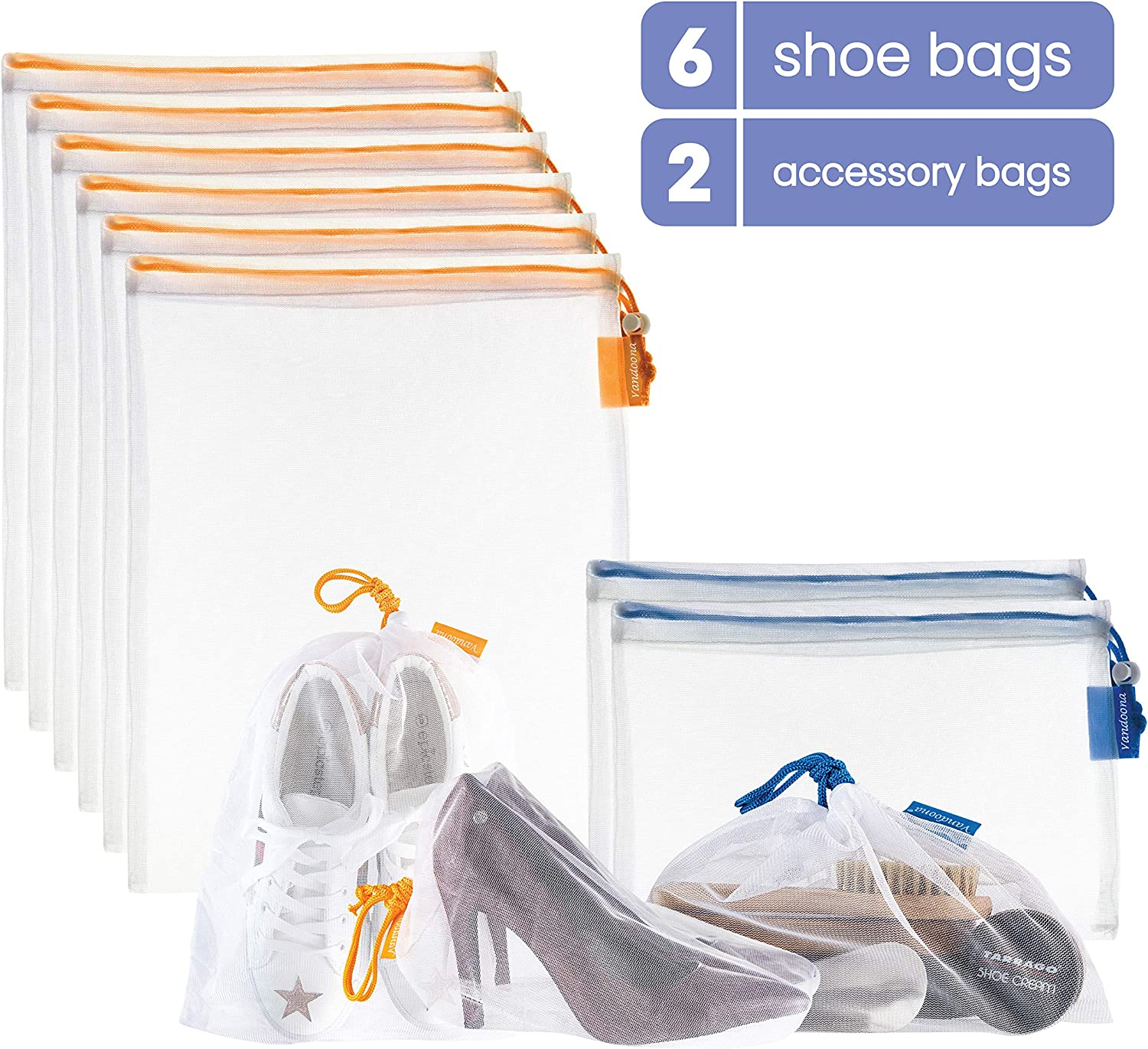 VANDOONA Shoe Bag Set – Mesh Shoe Storage Bags & Accessories Bag for Travel, Home Organization, Sports, Outdoors, Gym. Transparent Color-Coded Drawstrings by Size S & M (6 Medium, 2 Small)
