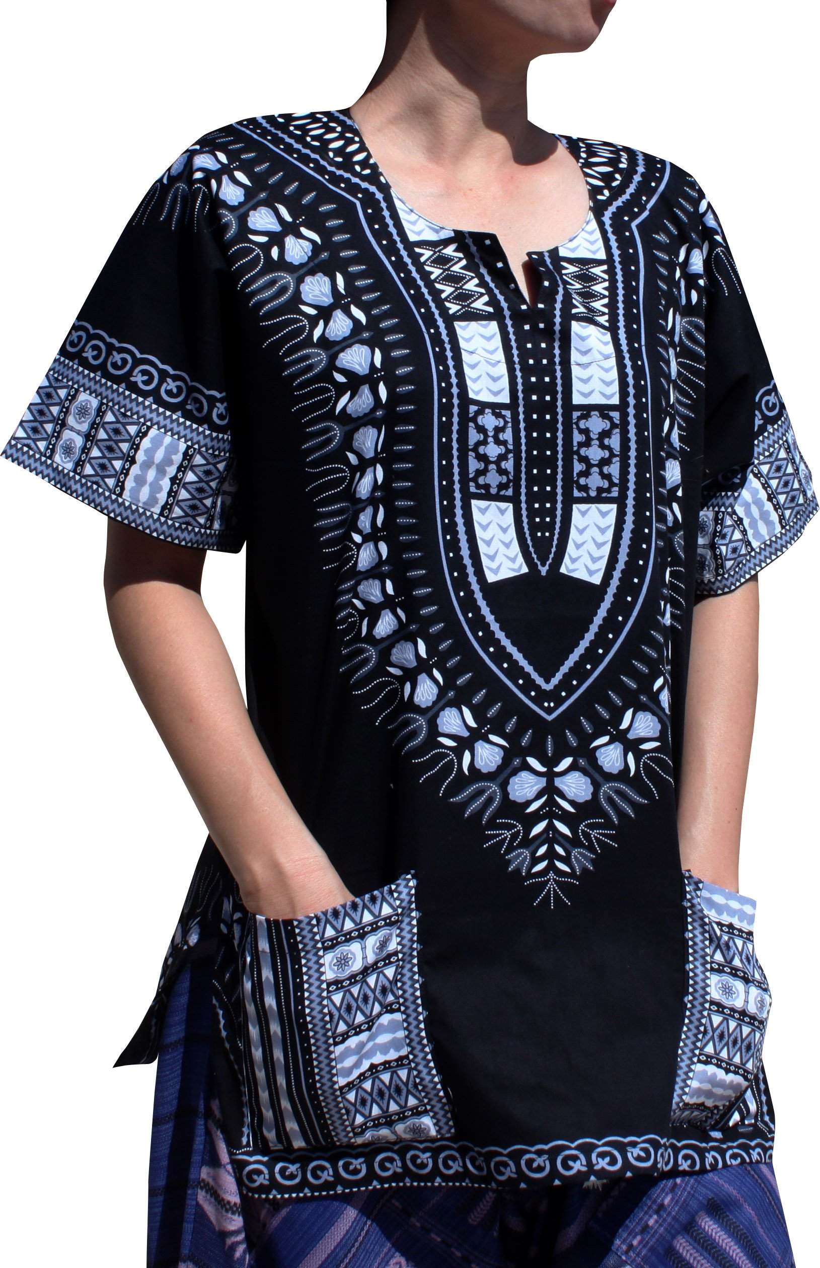 RaanPahMuang Traditional African Dashiki Shirt In Light Thin Grade Batik Cotton, Large, Black/Gray by RaanPahMuang (Image #1)