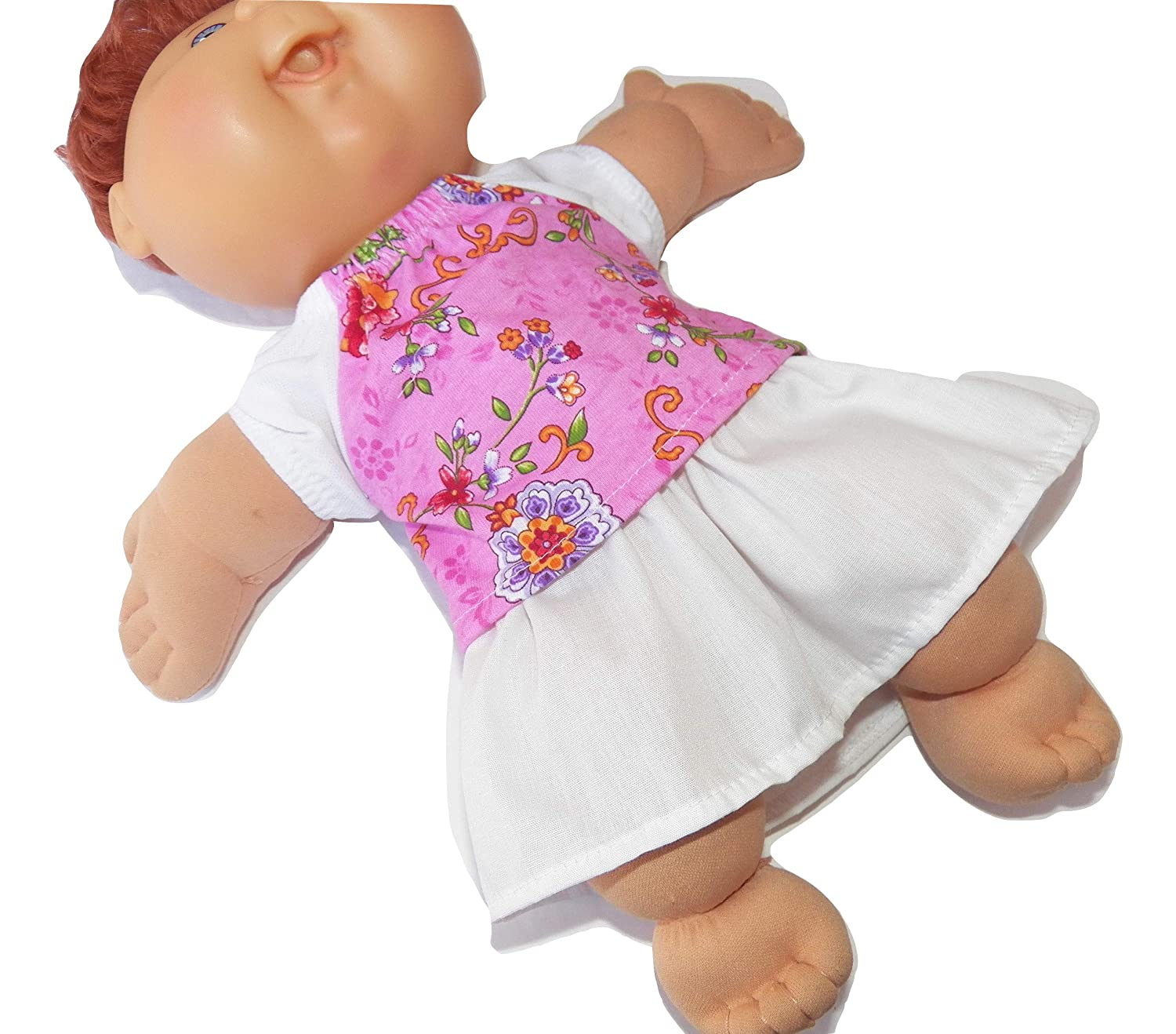 Cabbage Patch Doll Clothes Fits 14 Inch Kids Doll or Preemie Pink T-shirt and White Skirt Set