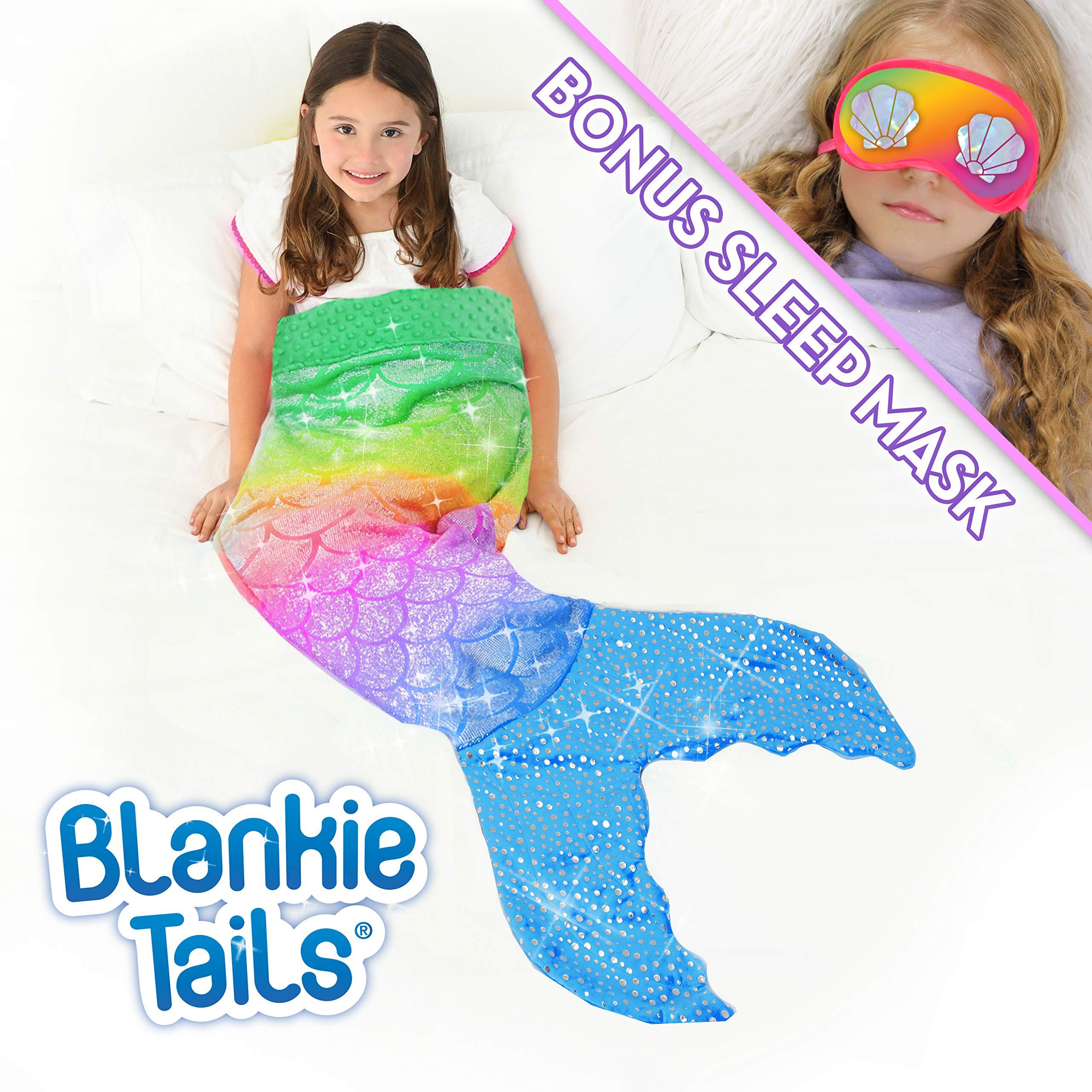 Blankie Tails Mermaid Tail Blanket with Bonus Sleep Mask Gift Set - Glitter Sparkle Rainbow Ombre Mermaid Blanket-Double-Sided Minky Fleece Kids Size Mermaid Tail Wearable Blanket by Blankie Tails