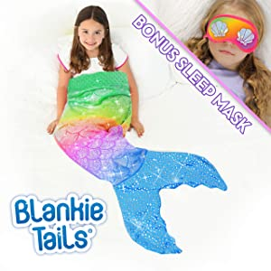 Blankie Tails Mermaid Tail Blanket with Bonus Sleep Mask Gift Set - Glitter Sparkle Rainbow Ombre Mermaid Blanket-Double-Sided Minky Fleece Kids Size Mermaid Tail Wearable Blanket