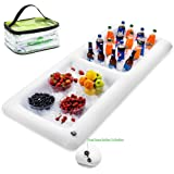 Inflatable Salad Bar With New Innovative Valve for EASY Inflation - Deflation By Outdoorwares Food & Drink Holder For Picnics, BBQ & Parties – 62 x 27 x 6 - 2 Separate Compartments and separate valves