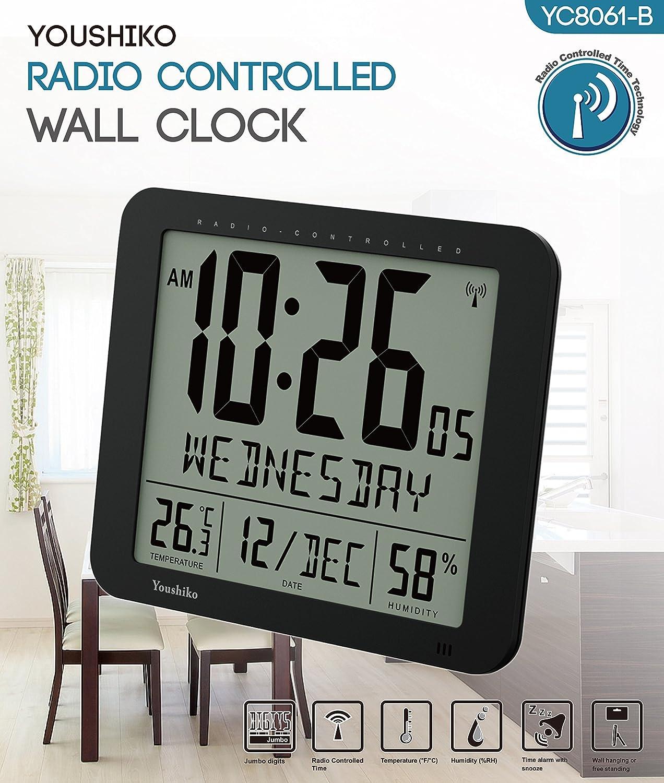 Royaume-Uni et en Irlande version Jumbo LCD radio contrôlée MSF Digital Horloge Murale