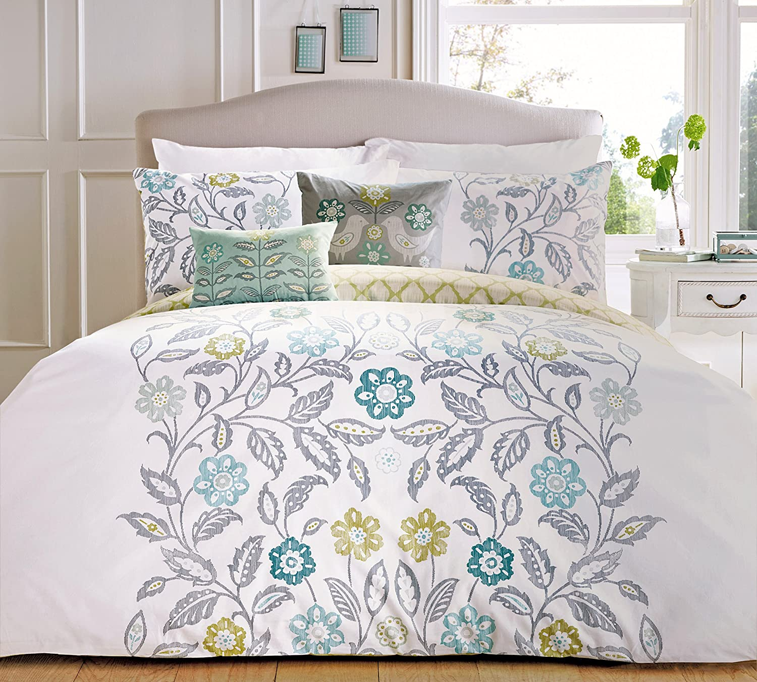 product white alyssa bedding printed linen duvet and set teal quilt cover