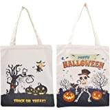 """FSY Halloween Canvas Tote Bag 13.7""""x12.5"""", 2pcs Pack Pumpkin Trick bag, Treat bag for Kids as Gift Bag, Party Goody bags"""