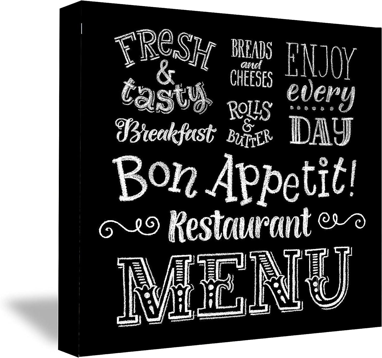 FRAMED CANVAS - MENU for kitchen food bon appetit funny PRINT(16