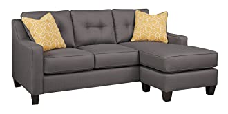 Benchcraft Aldie Nuvella Contemporary Sofa Chaise Sleeper - Queen Size Mattress Included - Gray