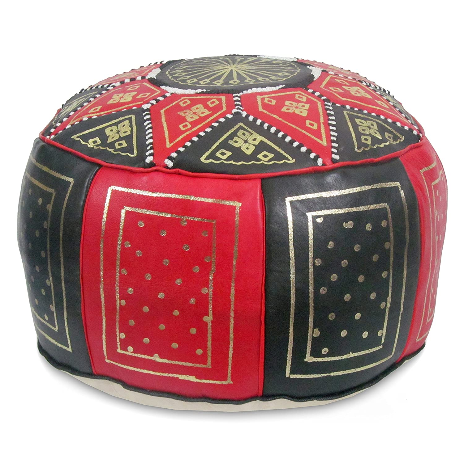 Square handcrafted moroccan leather pouf dark tan pouf pouffe ottoman - Amazon Com Mina Stuffed Moroccan Golden Fez Leather Pouf Ottoman Many Colors Available 16 Diameter And 12 Height Navy Blue Kitchen Dining