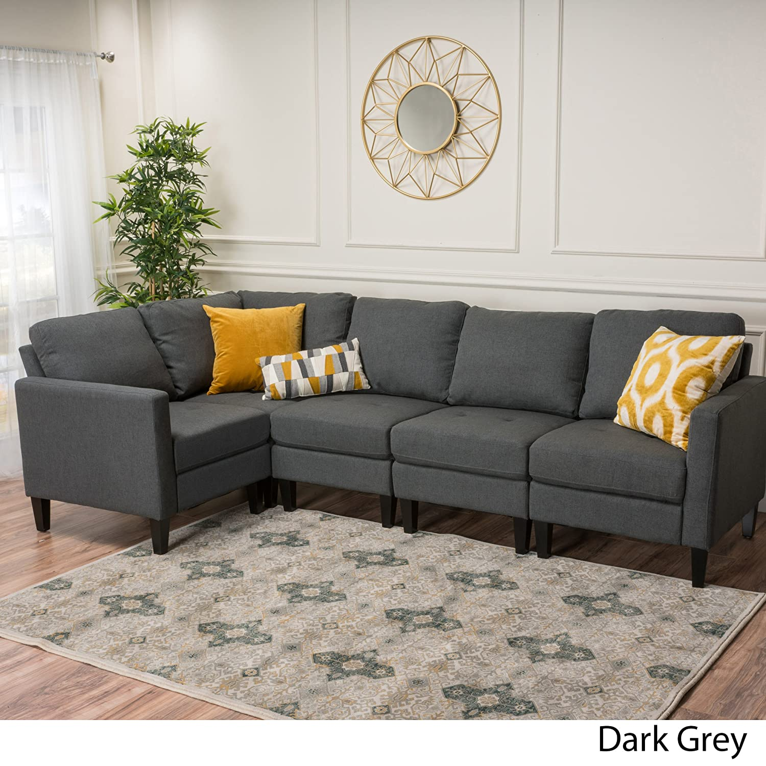 Amazon com carolina dark grey fabric sectional couch kitchen dining