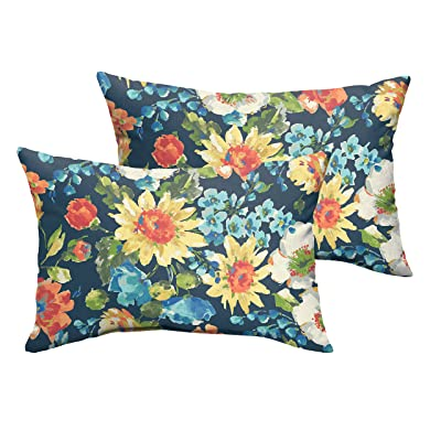 Mozaic Company AMPS115753 Indoor Outdoor Lumbar Pillows, Set of 2, 12 x 18, Navy Blue & Multicolor Floral : Garden & Outdoor