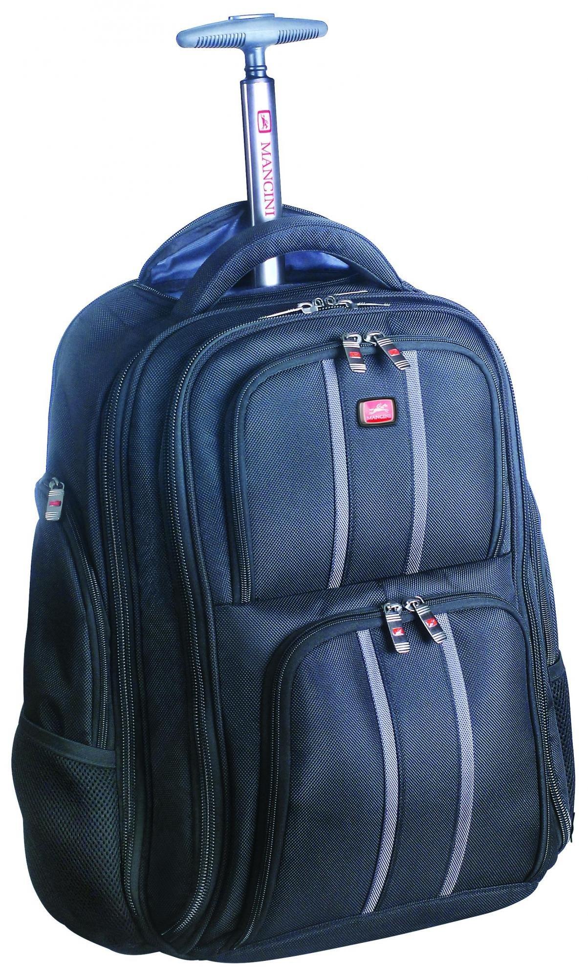 Mancini Leather Goods RFID Wheeled 17'' Laptop Backpack (Black)