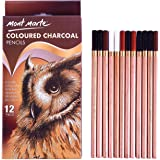 Mont Marte Coloured Charcoal Pencils, 12 Piece. Includes 4 Carefully Selected Colours Ranging from White to Sanguine, Sepia and Black.