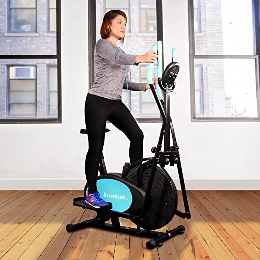 harvil bicicleta estática elíptica 2 en 1 con Fitness Tracker, sensor de ritmo cardíaco, tensión ajuste y con textura pedales: Amazon.es: Deportes y aire ...