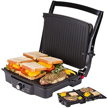 Parrilla de contacto eléctrica | Parrilla de mesa | Tostadora de sándwiches ángulo de abertura 180 grados | Regulación de temperatura | Luz indicadora ...