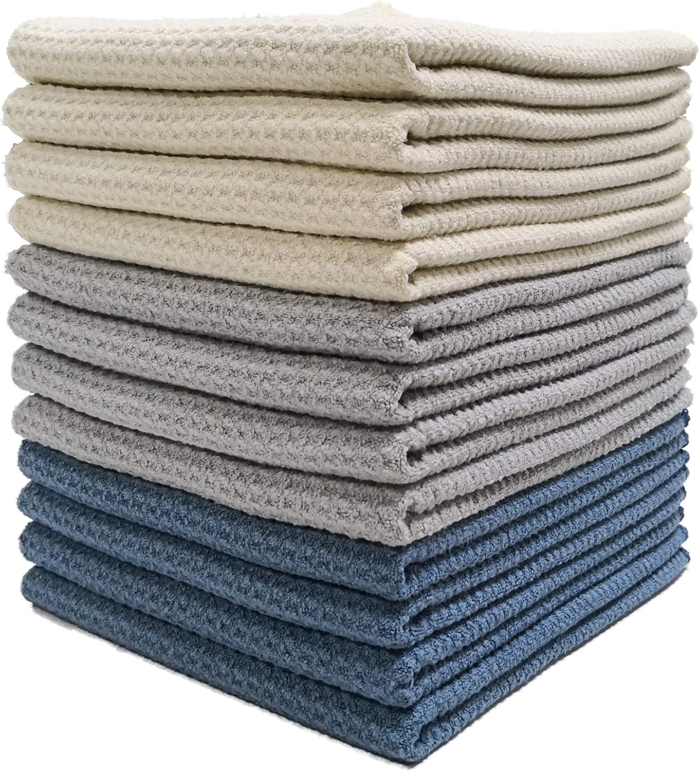 Polyte Premium Microfiber Kitchen Dish Hand Towel Waffle Weave (Dark Blue,  Gray, Off White, 16x28) 12 Pack