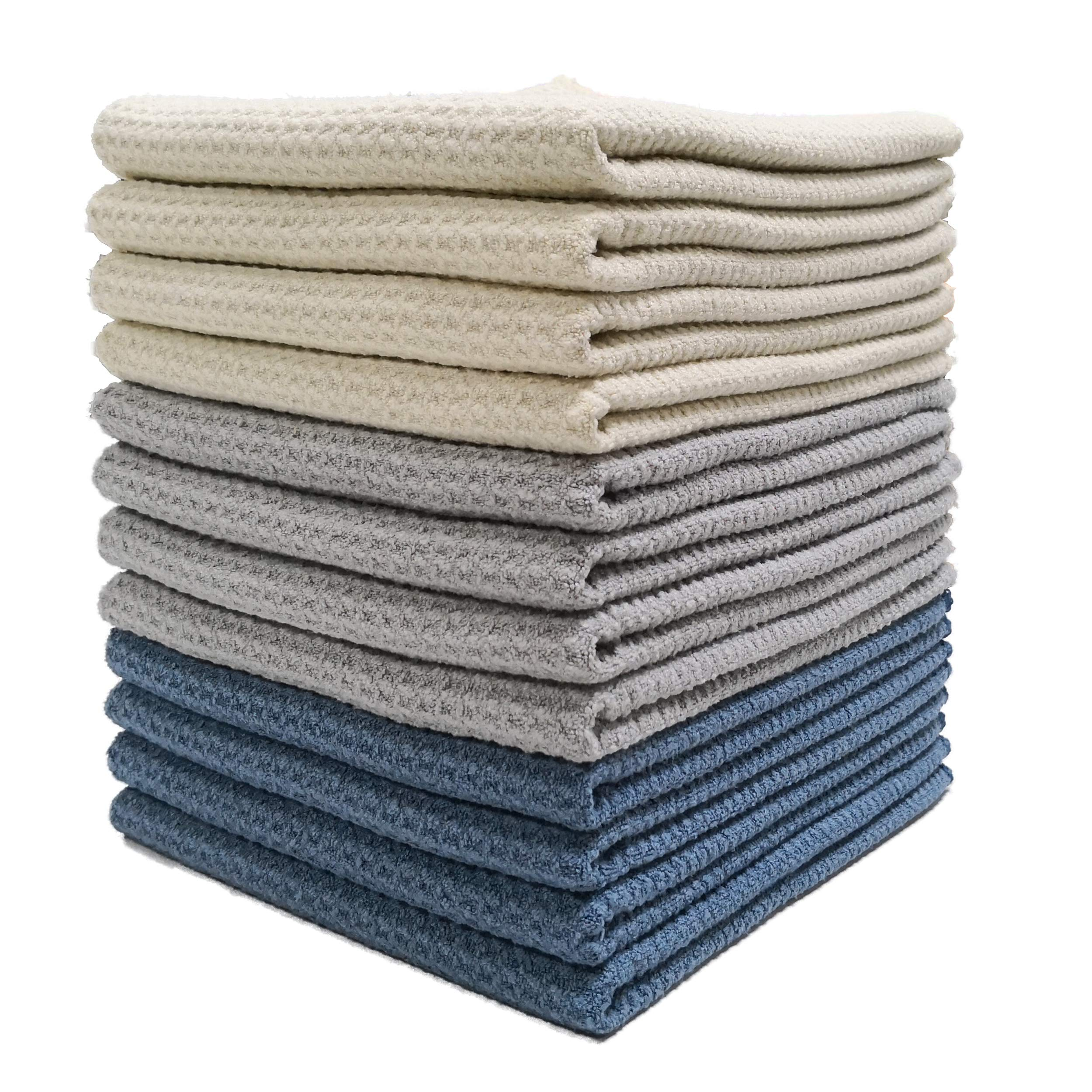 Polyte Premium Microfiber Kitchen Dish Hand Towel Waffle Weave (Dark Blue, Gray, Off White, 16x28) 12 Pack by Polyte