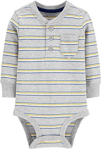 OshKosh BGosh Baby Boys Pocket Henley Bodysuits Shirt