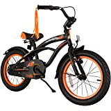 BIKESTAR® Premium 40.6cm (16 pulgada) Bicicleta Premium para los niños mas atrevidos y divertidos de 4 años ★ Edición Cruiser de Lujo ★ Negro