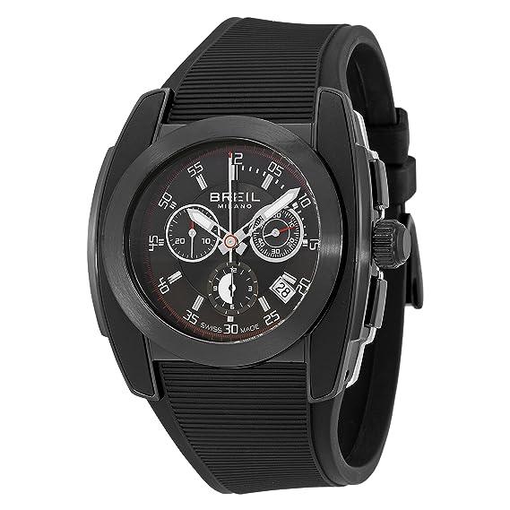 Breil BW0379 - Reloj cronógrafo de caballero de cuarzo con correa de goma negra (cronómetro) - sumergible a 100 metros: Amazon.es: Relojes