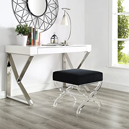acrylic bedroom furniture. Inspired Home Giselle Black Velvet Upholstered Ottoman - Modern Acrylic  X-Leg | Living Room Acrylic Bedroom Furniture A