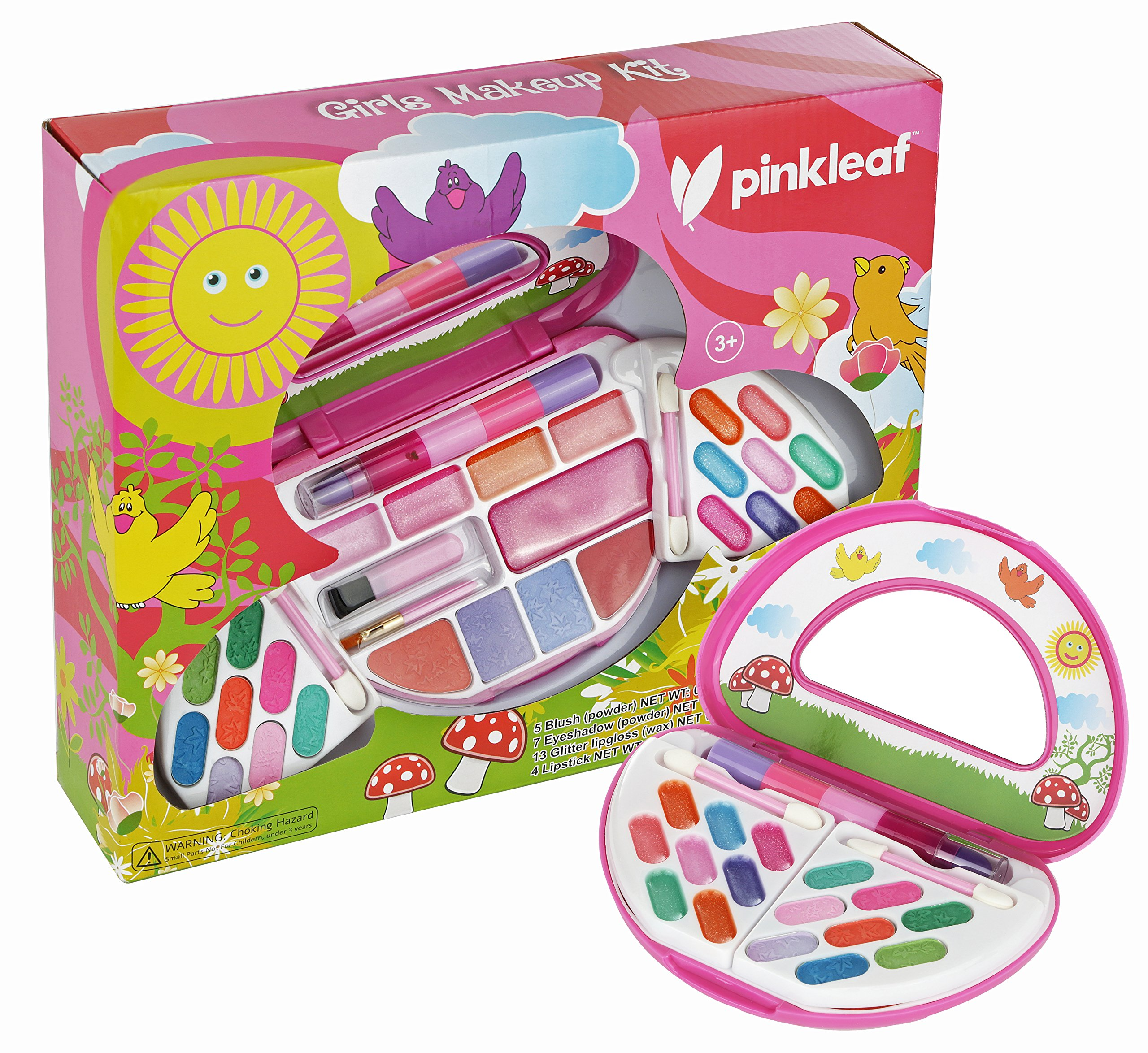 Kids Makeup Kit for Girls - Toddler Toys - Safe & Non-Toxic Cosmetics for Toddlers & Preschoolers - Pink Folding Cosmetics Palette Gift Set with Small Beauty Mirror, Washable Makeup Set by Pinkleaf