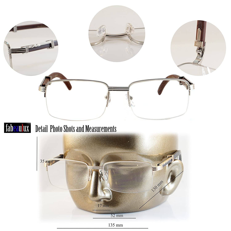 Amazon.com: FBL clásico semi-rimless transparente Lens metal ...