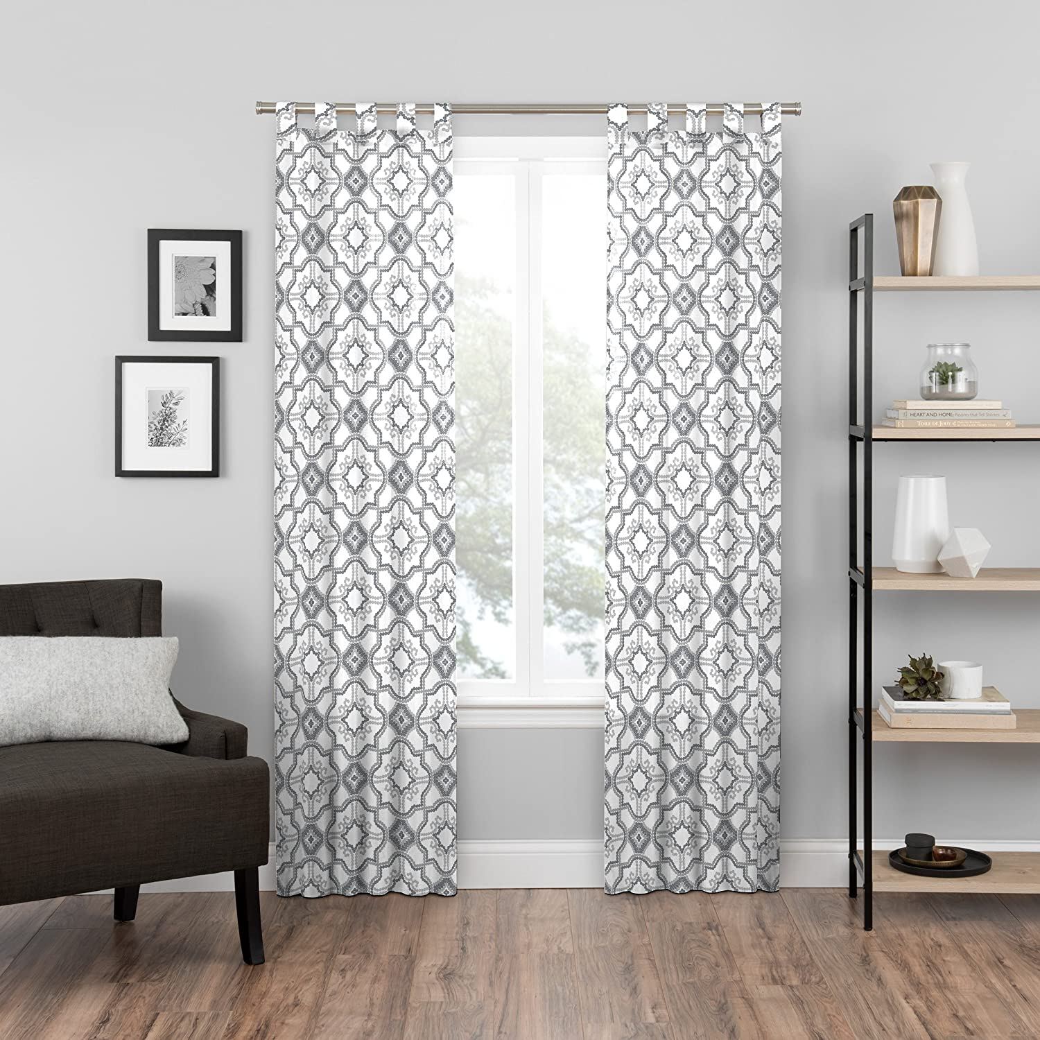 Pairs to Go Cecily 2-Pack Window Curtains 60x63 Black Ellery Homestyles 16548060X063BLK