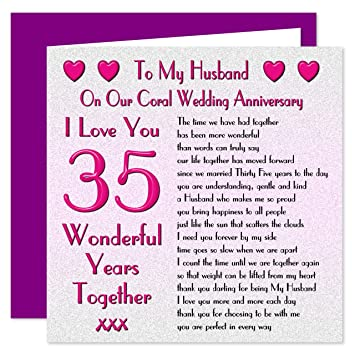 my husband 35th wedding anniversary card on our coral anniversary