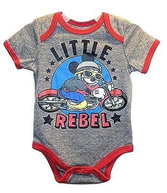 1d227b5b1f74 Amazon.com  Disney Mickey Mouse Little Rebel Baby Boys Bodysuit ...