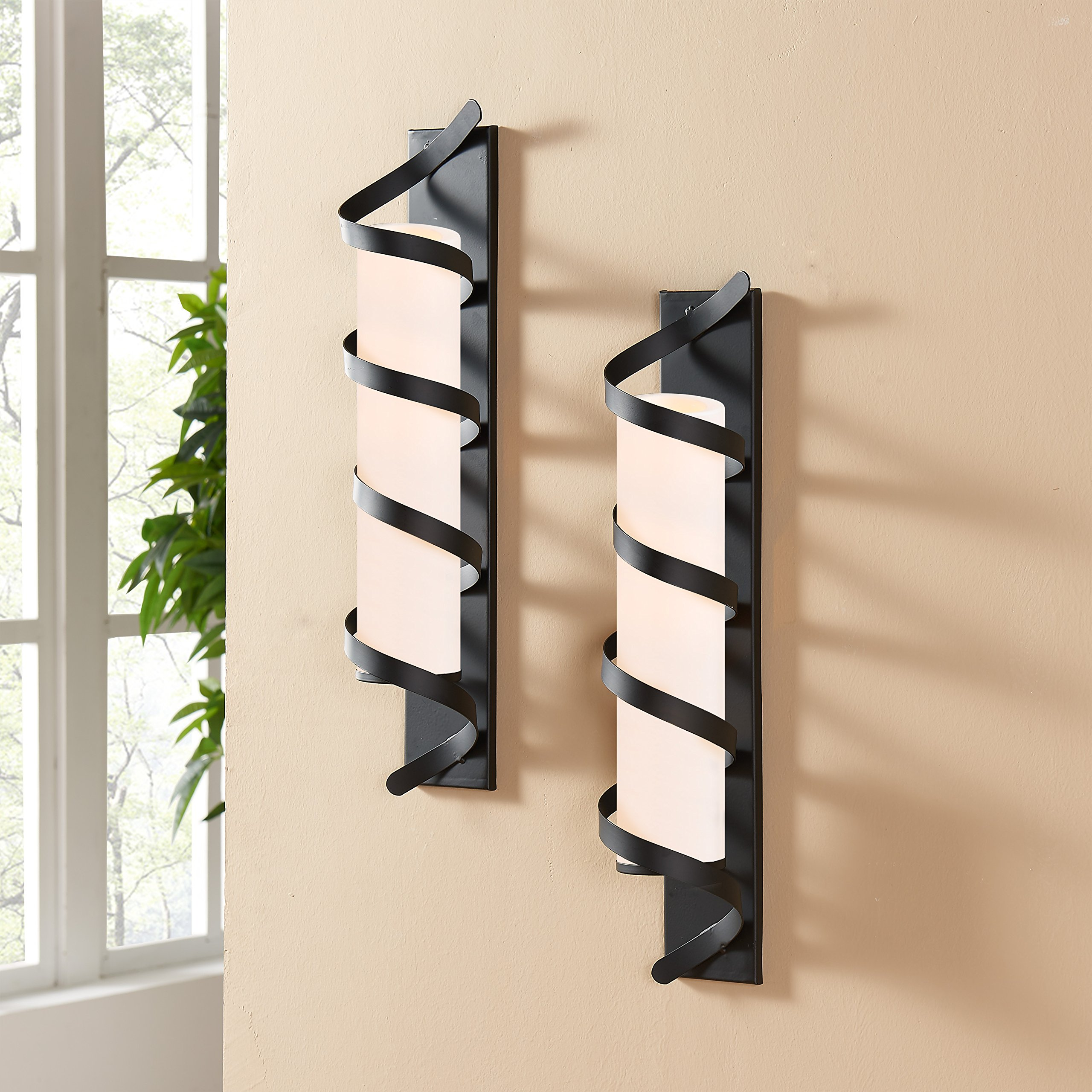 Danya B Wrap Around Metal Candle Sconces - Set of 2 - Easy to Hang - Contemporary Home Décor