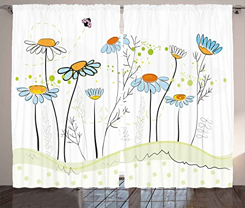 Ambesonne Floral Curtains, Gardening Theme Daisy Flowers in Spring Illustration Romantic Design, Living Room Bedroom Window Drapes 2 Panel Set, 108 X 63 , Pale Yellow Pale Blue