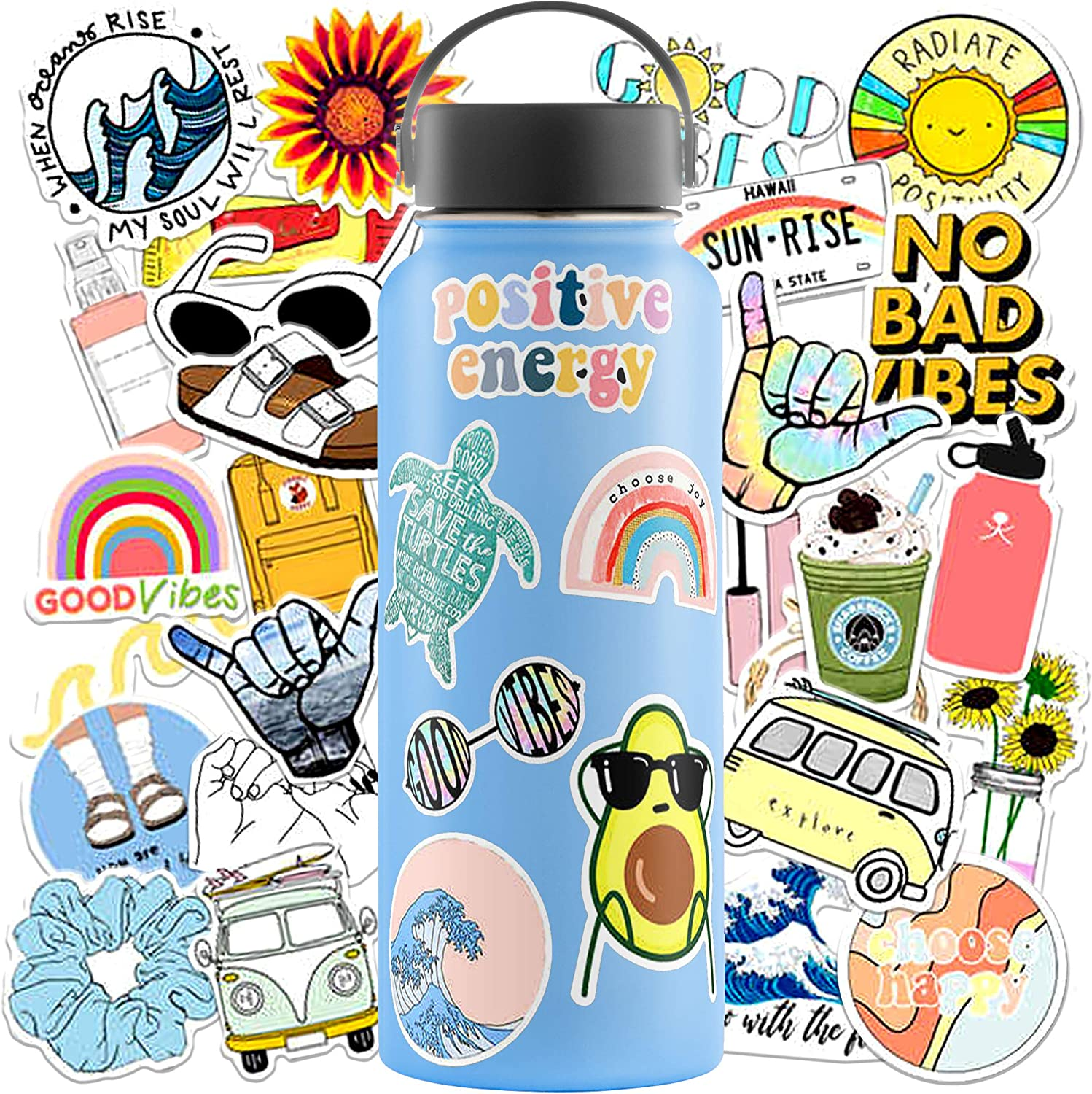 VSCO Stickers for Hydro Flask Stickers (35 Pack) - Waterproof VSCO Stickers for Hydroflask, Laptop Stickers - Aesthetic Stickers for Water Bottles - Cute Vinyl Stickers for Hydroflasks for VSCO Girl