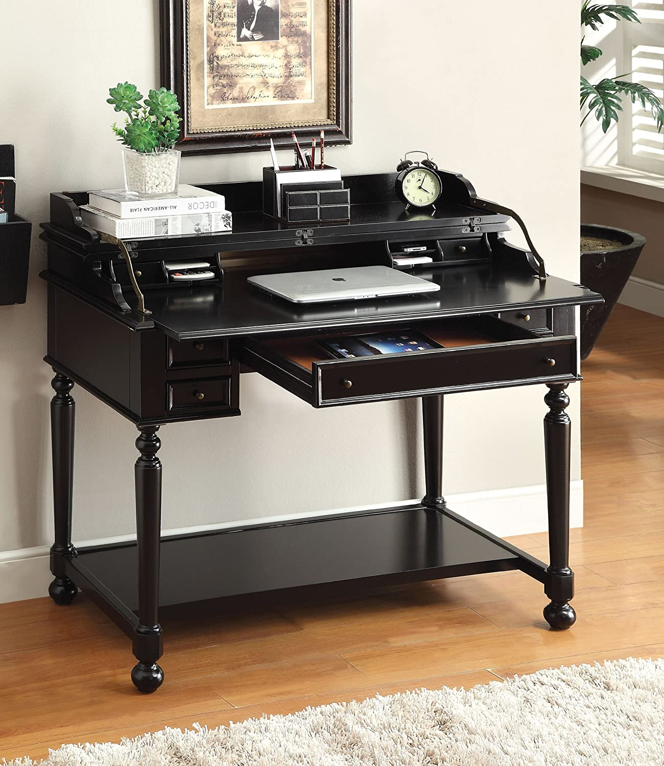 Amazon Furniture Of America Daxter Secretary Desk With Fold Out Writing Tray Black Kitchen Dining