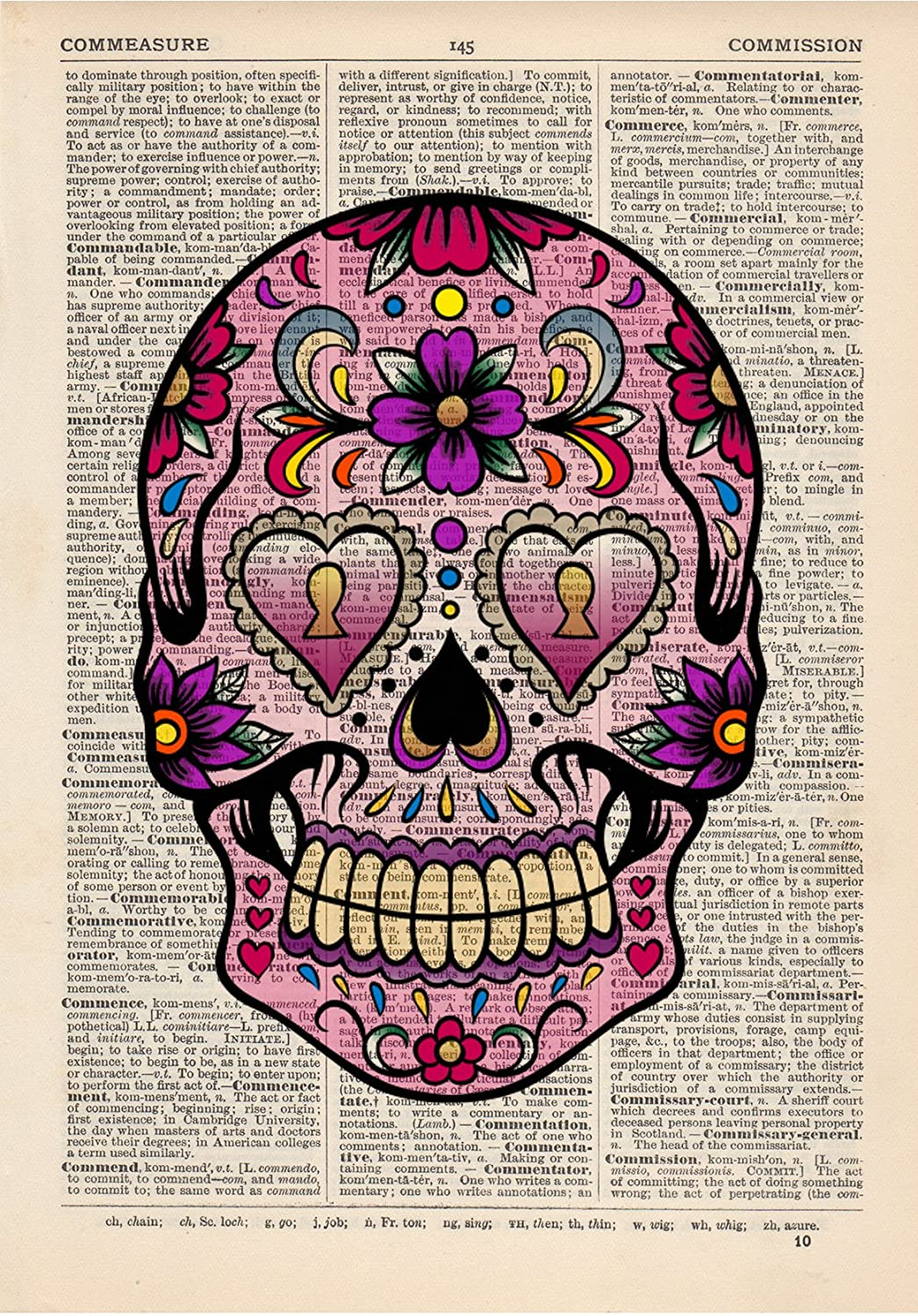 Sugar Skull 4 Dictionary Art Print Vintage Day of the Dead Alternative Muertos Fallen Saint DICPB0403