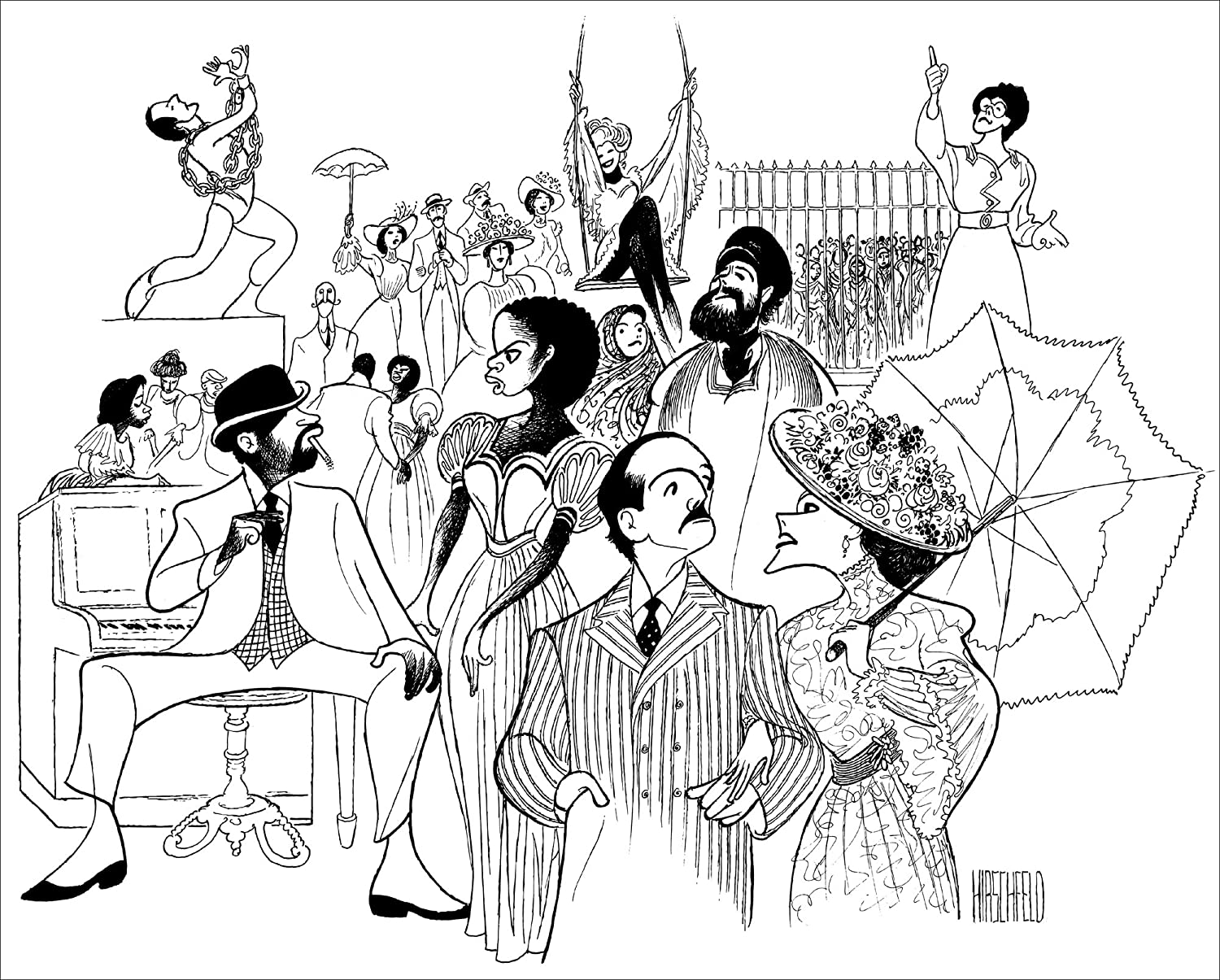 RAGTIME, Hand Signed by AL HIRSCHFELD, Limited Edition Lithograph, Brian Stokes Mitchell, Judy Kaye, Jim Corti, Lynette Perry, Mark Jacoby, Marin Mazzie, Peter Friedman, Lea Michele, and Audra McDonald THE MARGO FEIDEN GALLERIES LTD. New York