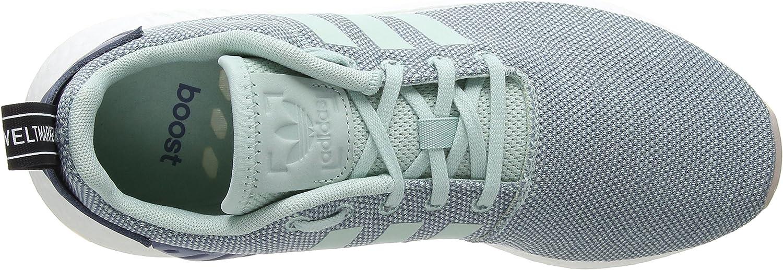 adidas Damen NMD_r2 Gymnastikschuhe, Schwarz Grau Raw Steel S18 Ash Green S18 Ftwr White