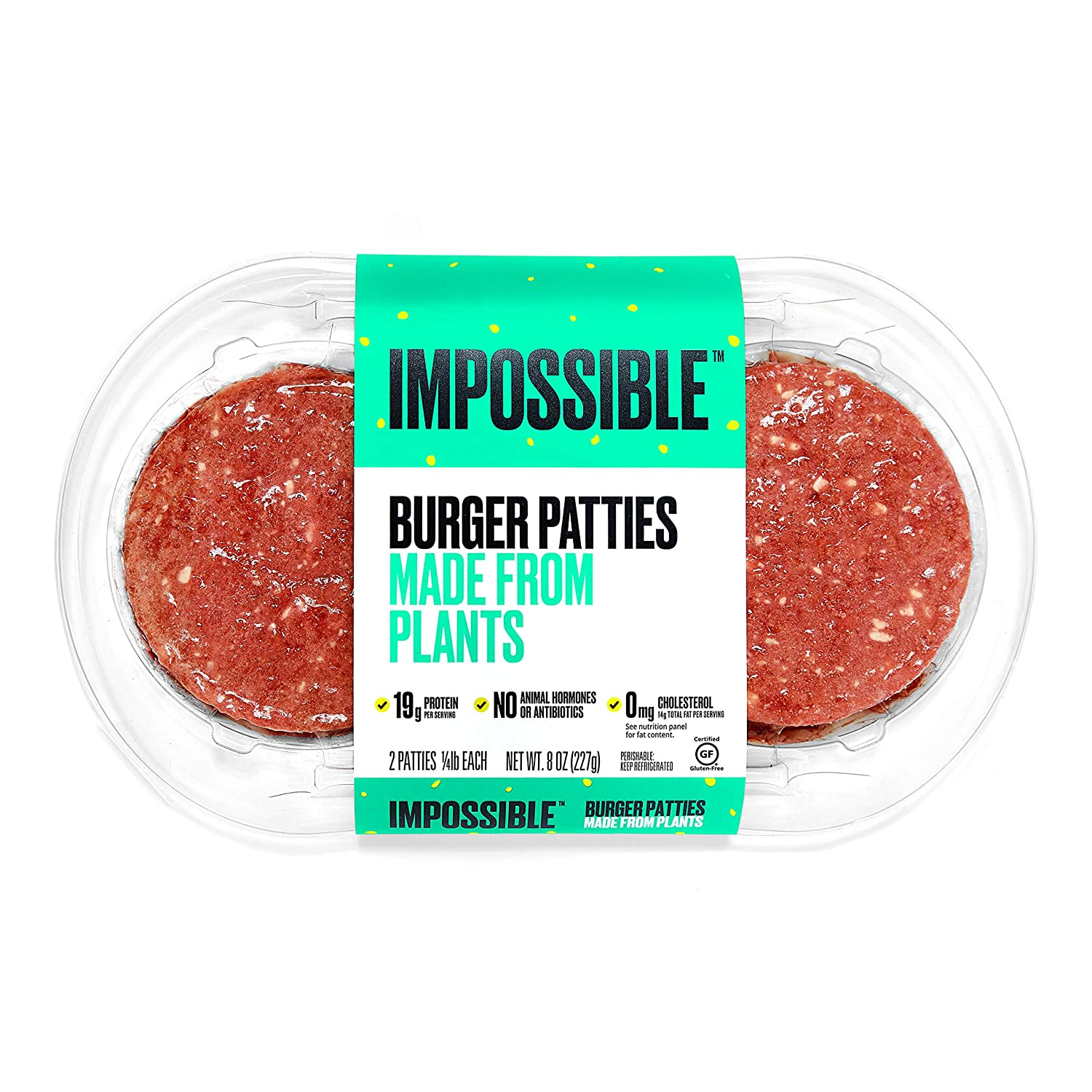 Impossible Foods Impossible Burger Plant-Based Ground Beef Patties, 8 Ounce
