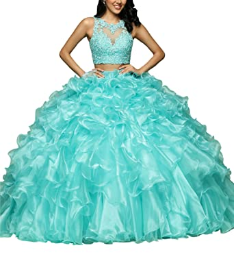 0b7d455be97 Quinceanera Dresses Two Piece Ruffles Applique Beads Sequins Backless Prom  Dress Ball Gowns Aqua Blue 2