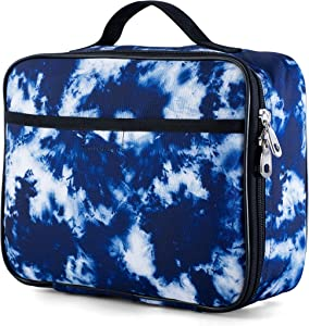 Lunchbox for Boys, Girls by Fenrici, Kids Insulated Lunch bag, Perfect for Preschool, K-6, Soft Sided Compartments, Spacious, BPA Free, Food Safe,10.8in x 9.2in x 3.8in (Blue Tie Dye)
