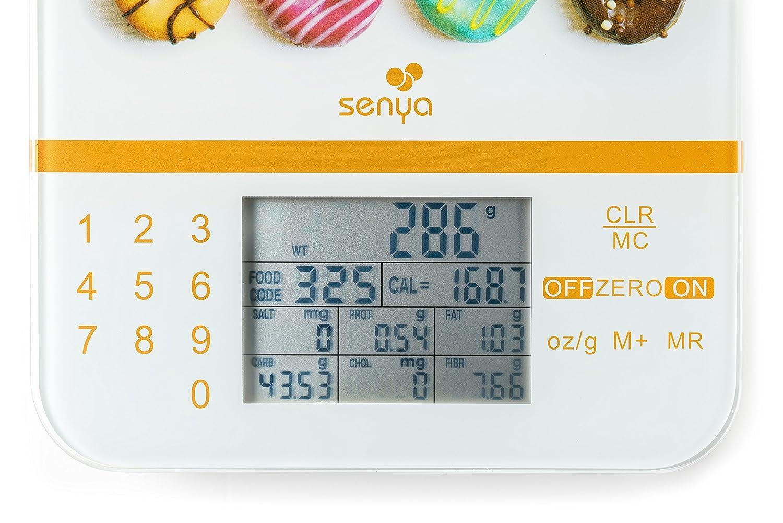 Senya SYCP-KS001 - Báscula de cocina nutricional táctil (pantalla LCD de alta precisión, calculadora de aporte energético, bandeja de cristal): Amazon.es: ...