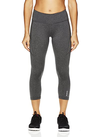 96d60170f988e5 Reebok Women's Printed Capri Leggings with Mid-Rise Waist Performance  Compression Tights - Charcoal Heather