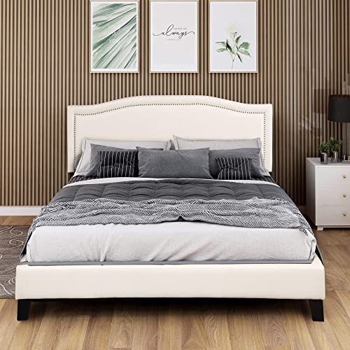 King Bed Frame, Upholstered Platform Bed with Headboard,Box Spring Needed, King Size, Beige