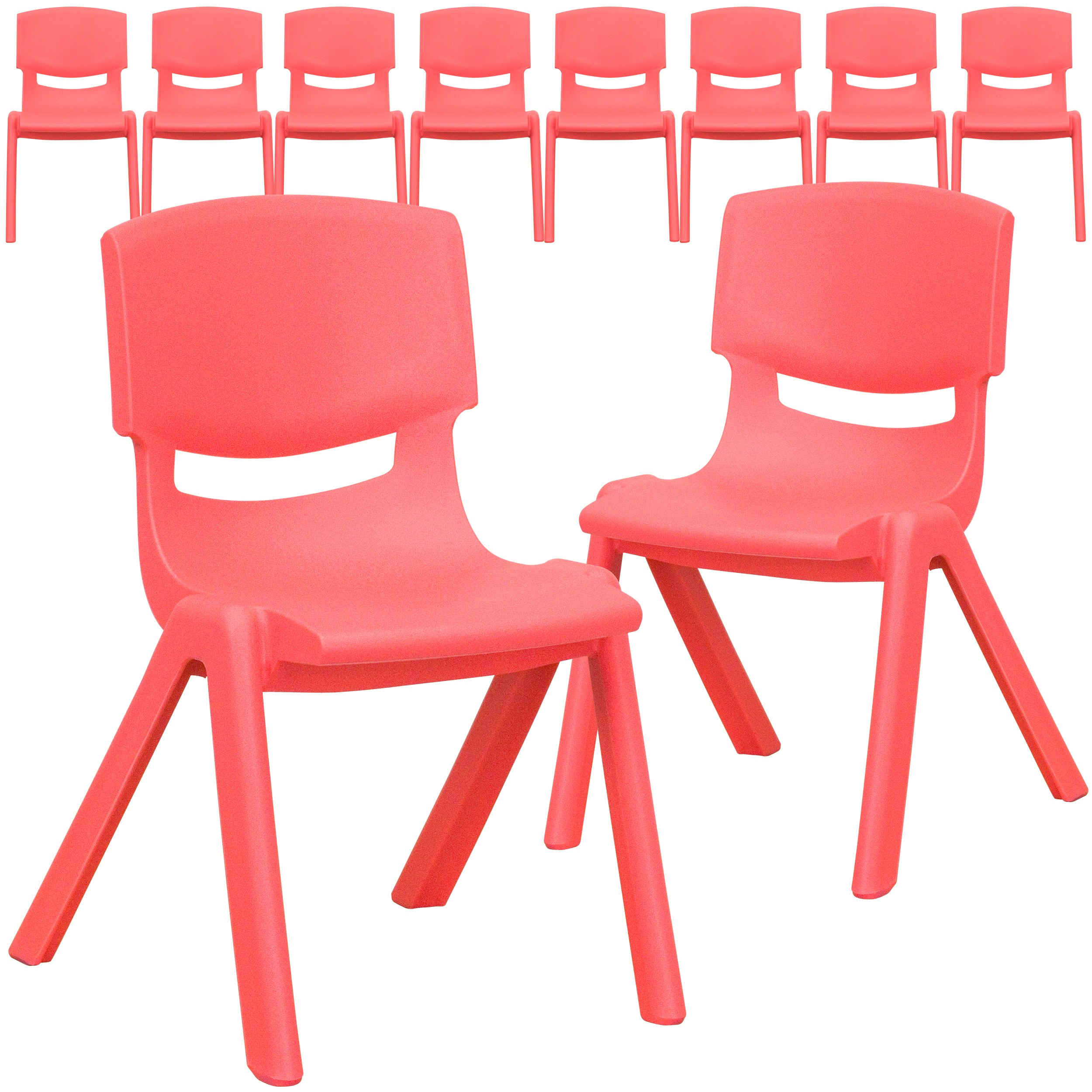 Flash Furniture 10 Pk. Red Plastic Stackable School Chair with 12'' Seat Height