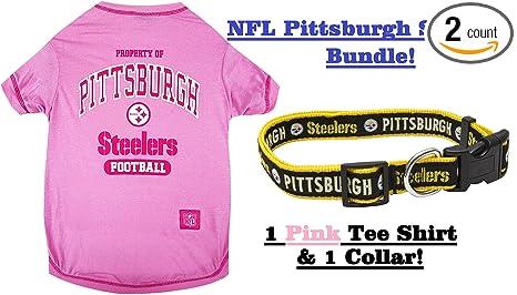bf41eb8bc95 NFL Pittsburgh Steelers PET COLLAR & PET TEE SHIRT Bundle, Medium. ▭ Pittsburgh  Steelers