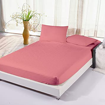 Story@Home Super Soft Extra Deep Pocket 300 TC Cotton Fitted Bedsheet with 2 Pillow Covers - Solid, King Size, Pink