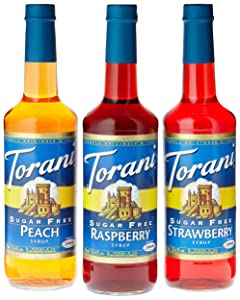 Torani Sugar Free Fruit Flavor Syrup Variety Pack - Raspberry, Strawberry, Peach, 3-Count, 1.83-Pound Bottles