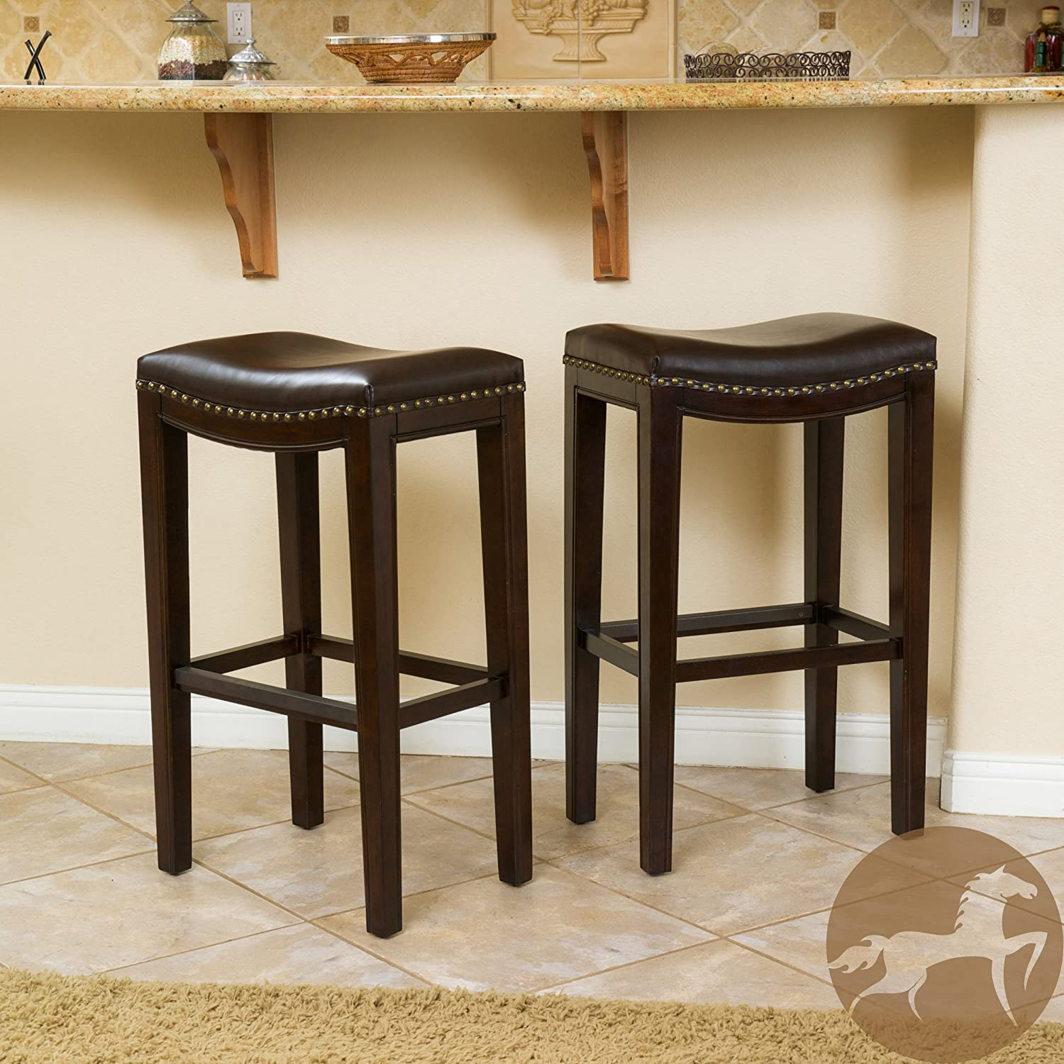 Jaeden Backless Brown Leather Bar Stools (Set of 2) Great Deal Furniture