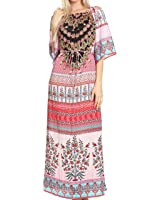Sakkas Efiya Long Printed Kaftan Off The Shoulder Ruffled Tie-Waist Maxi Dress