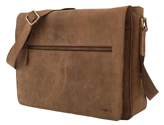 LEABAGS Pittsburgh sac à main rétro-vintage en véritable cuir de buffle - Noix de muscade wsbtSt0T