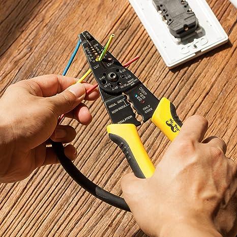 Fanuse Crimpadora Pelador de Cable de Corte El/éCtrico para Electricistas Herramientas Manuales Herramientas M/úLtiples Cortador de Cable